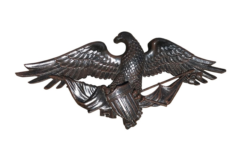 Eagle hanging wall with flag